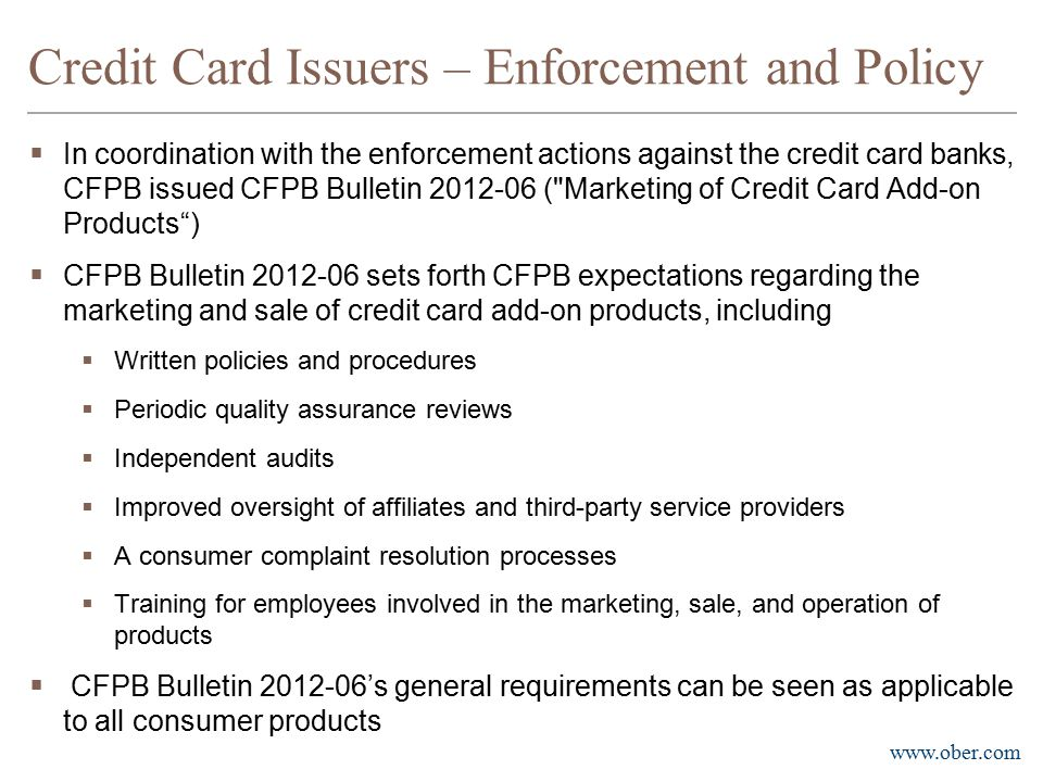 Credit Card Issuers – Enforcement and Policy