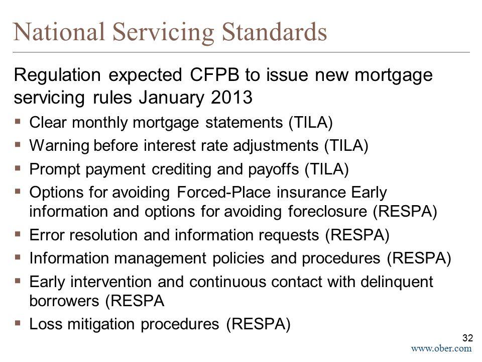 National Servicing Standards