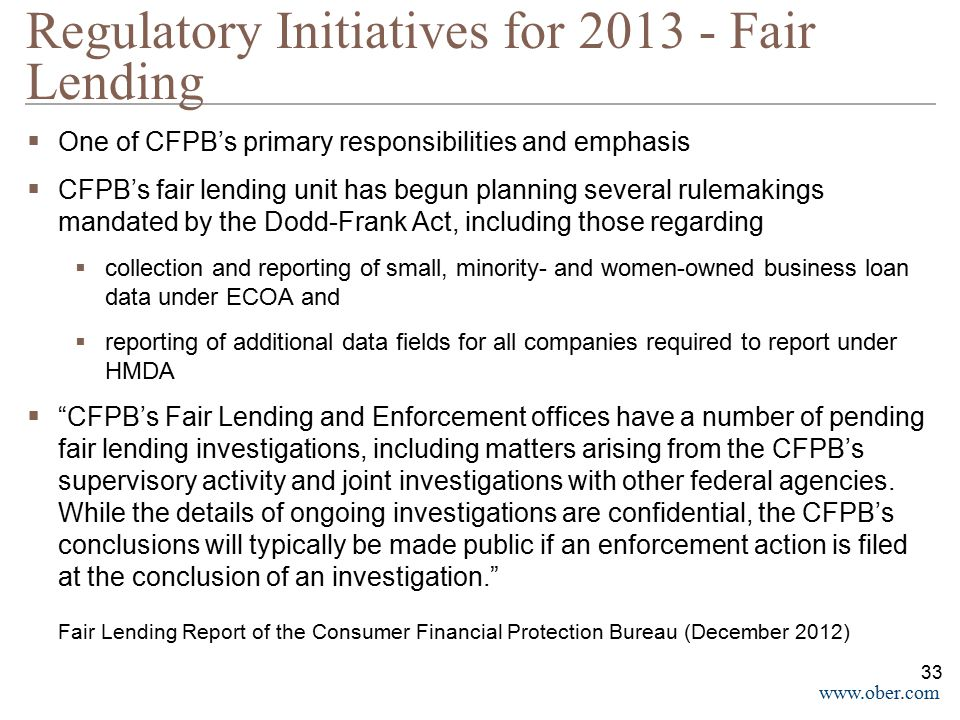 Regulatory Initiatives for 2013 - Fair Lending