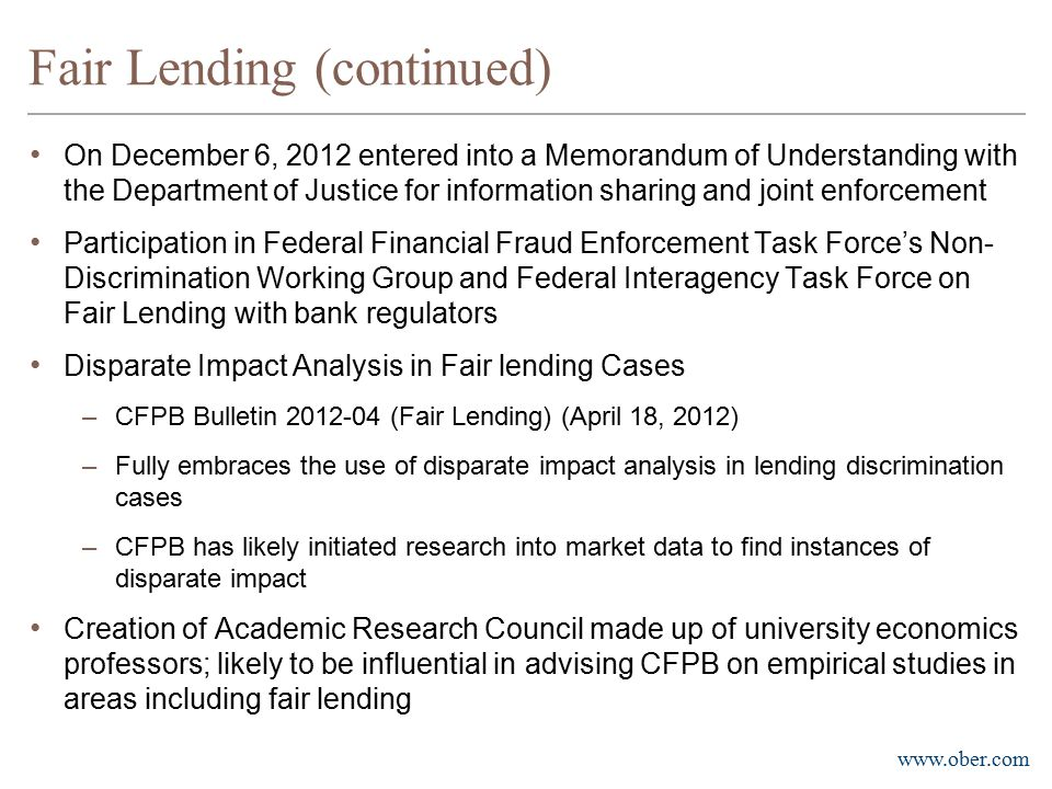 Fair Lending (continued)
