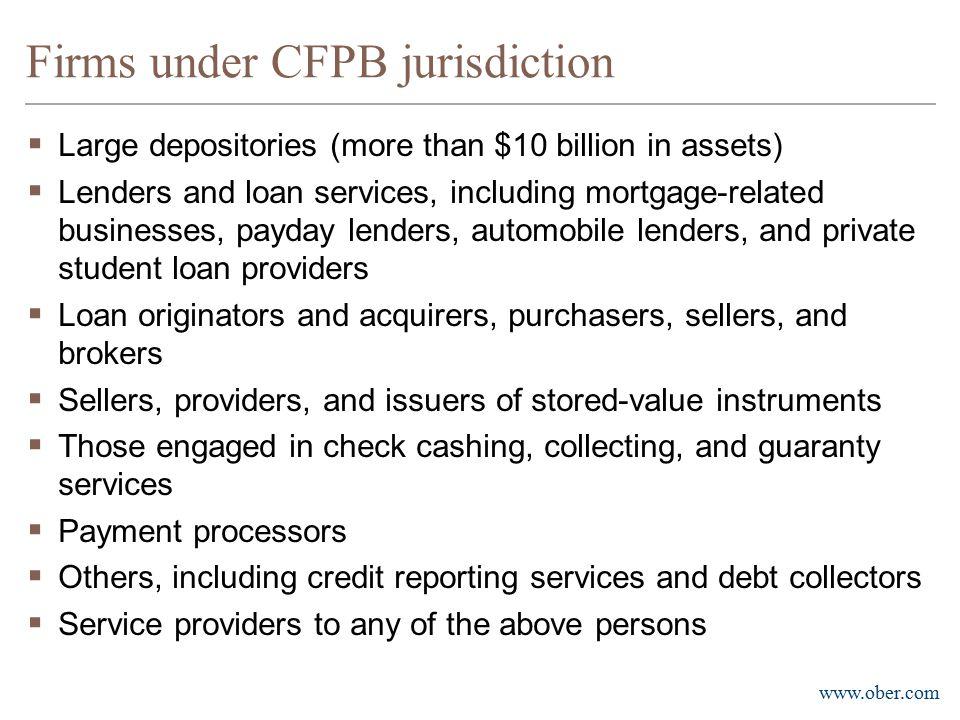 Firms under CFPB jurisdiction