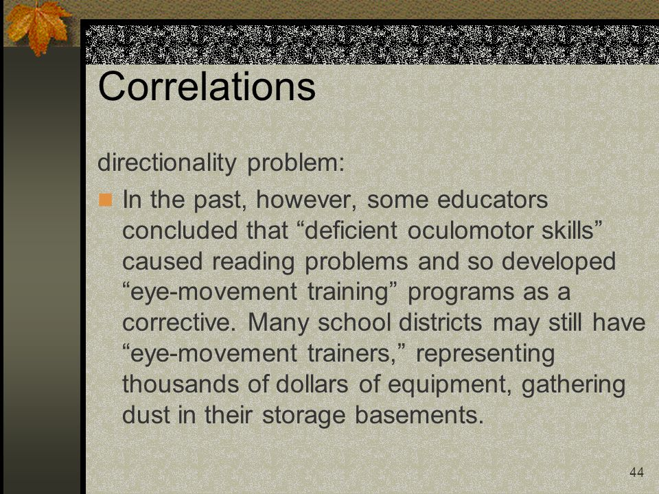Correlations directionality problem: