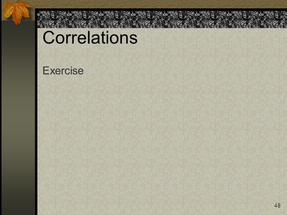 Correlations Exercise