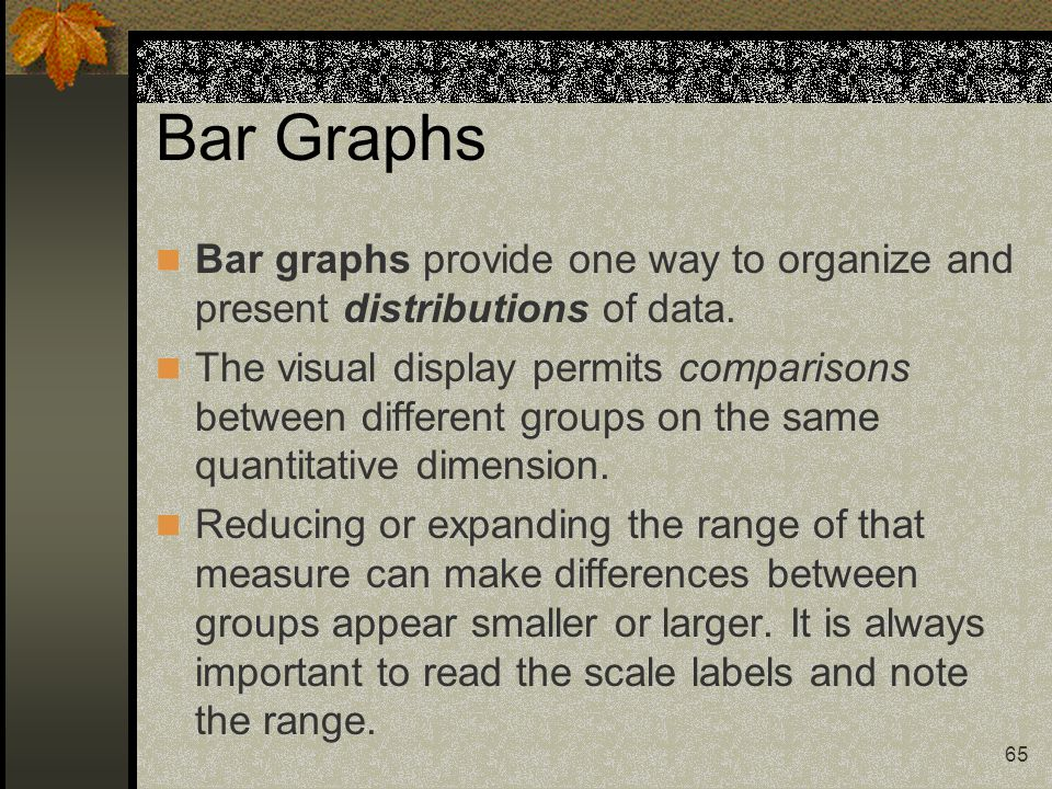 Bar Graphs Bar graphs provide one way to organize and present distributions of data.