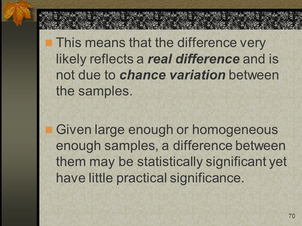This means that the difference very likely reflects a real difference and is not due to chance variation between the samples.
