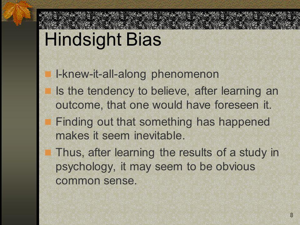 Hindsight Bias I-knew-it-all-along phenomenon