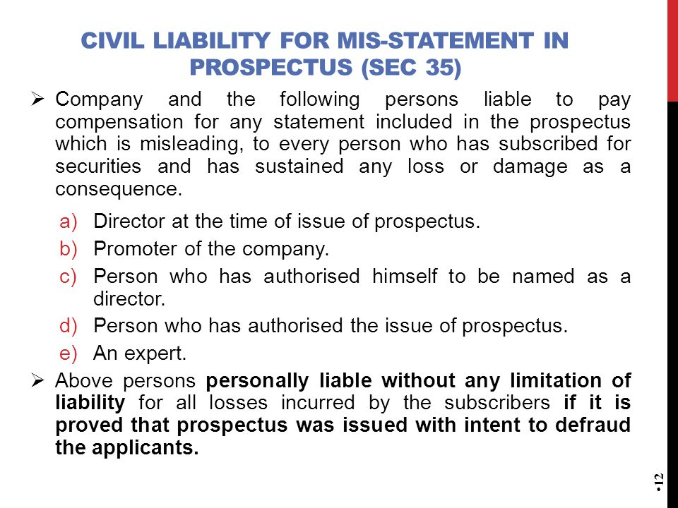 Civil Liability for mis-statement in Prospectus (Sec 35)