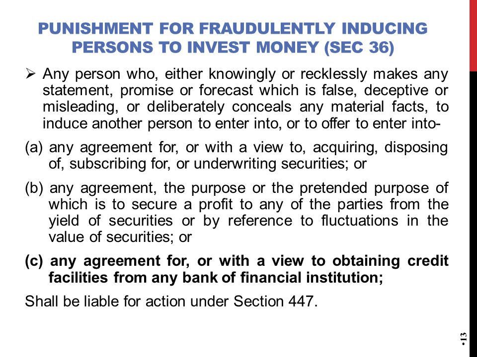 Punishment for fraudulently inducing persons to invest money (Sec 36)