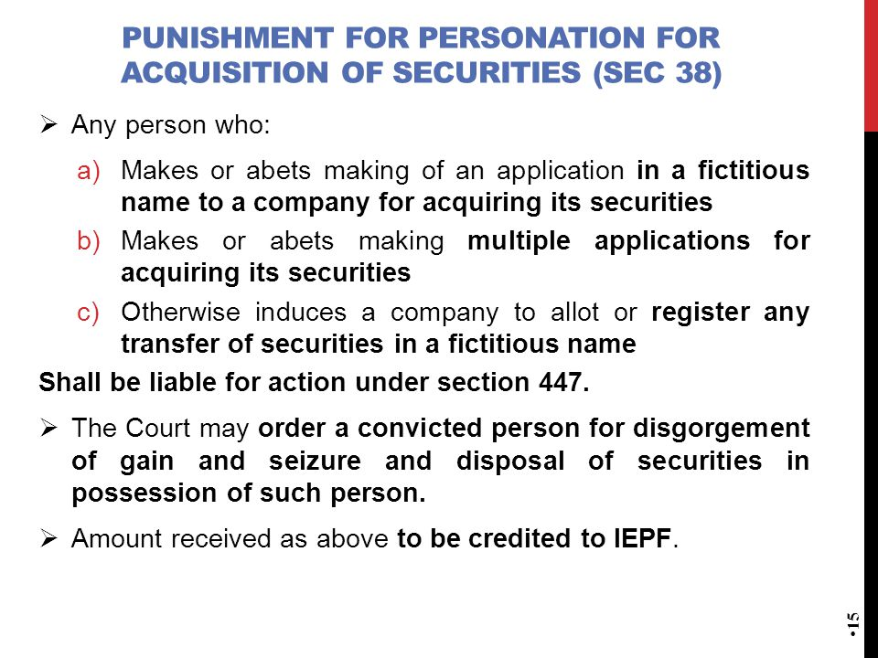 Punishment for personation for acquisition of Securities (Sec 38)