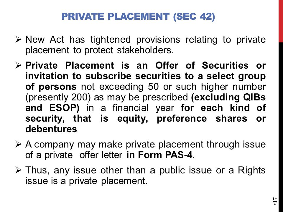 Private Placement (Sec 42)