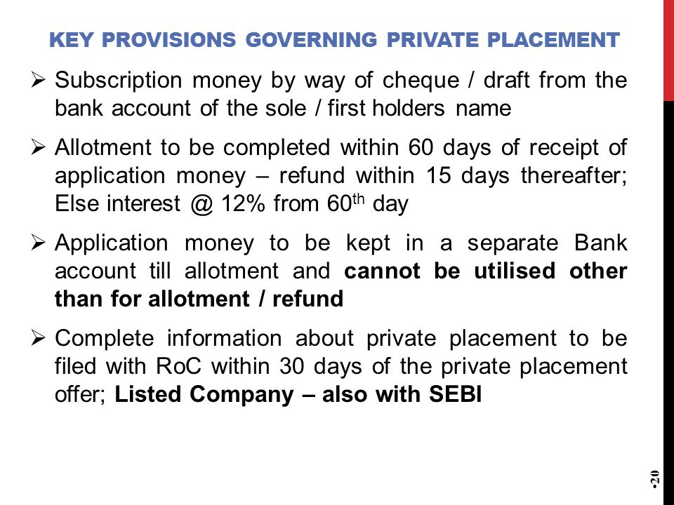 Key provisions governing Private Placement