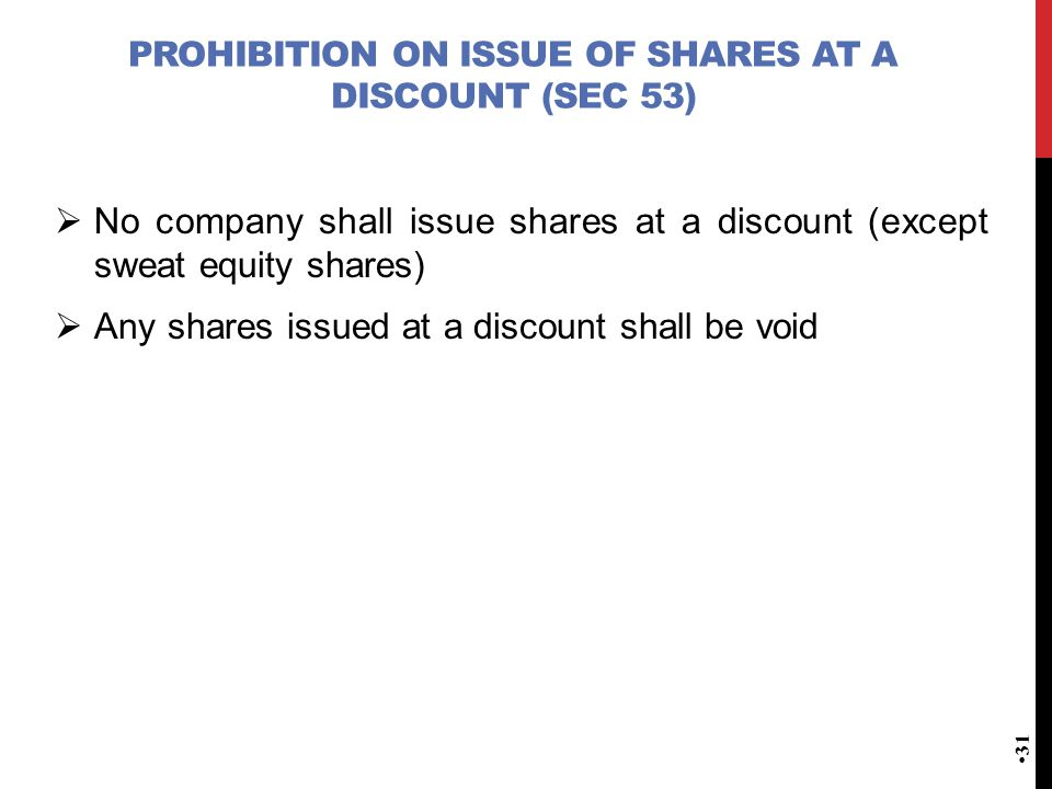 Prohibition on issue of shares at a discount (Sec 53)