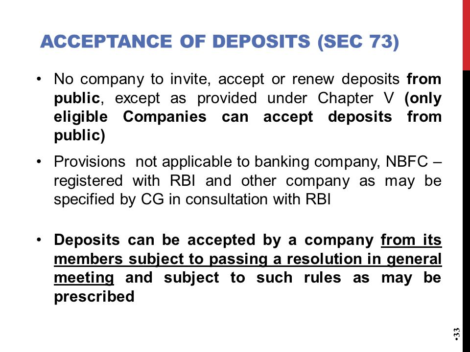 ACCEPTANCE OF DEPOSITS (Sec 73)