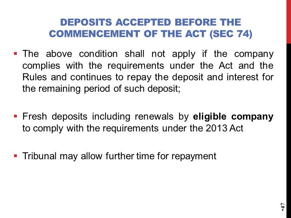 Deposits accepted before the commencement of the Act (Sec 74)
