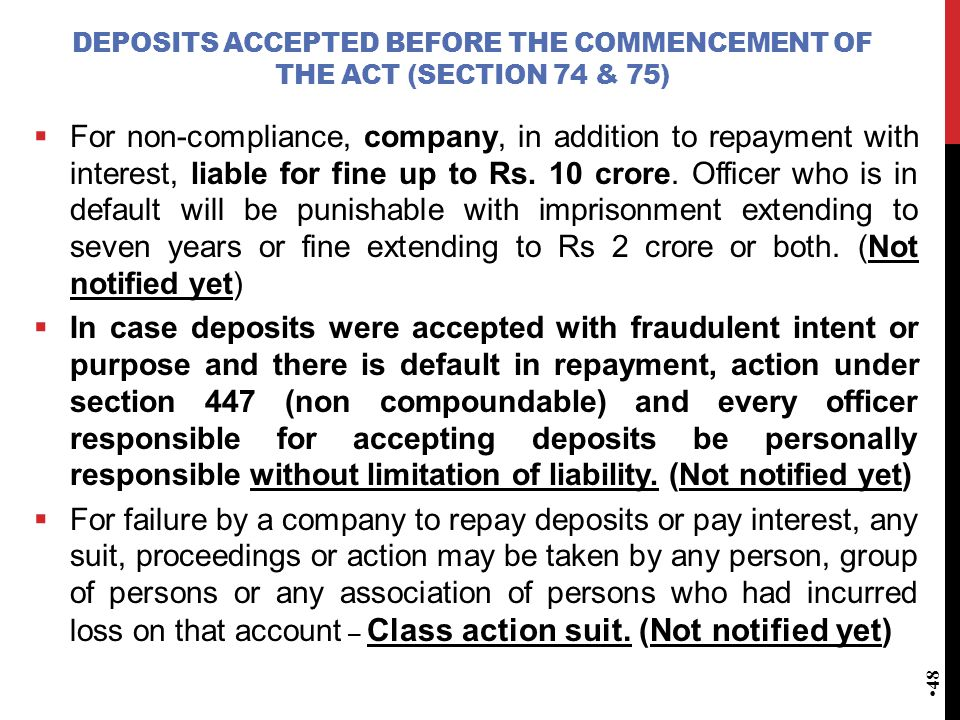 Deposits accepted before the commencement of the Act (Section 74 & 75)