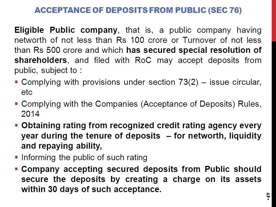 Acceptance of deposits from public (Sec 76)