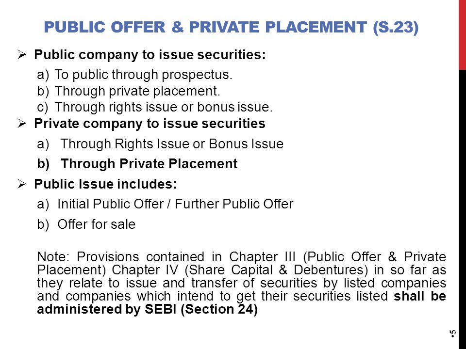 Public Offer & private placement (S.23)