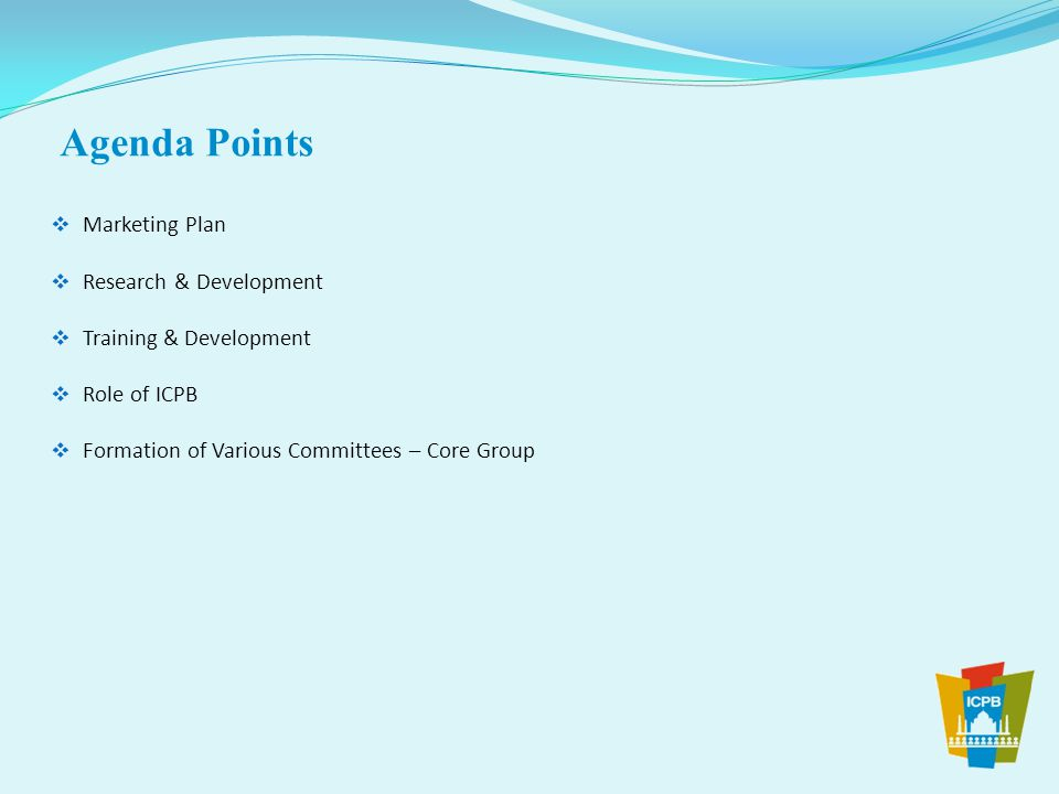 Agenda Points Marketing Plan Research & Development