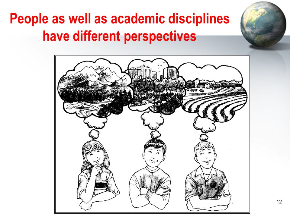 People as well as academic disciplines have different perspectives