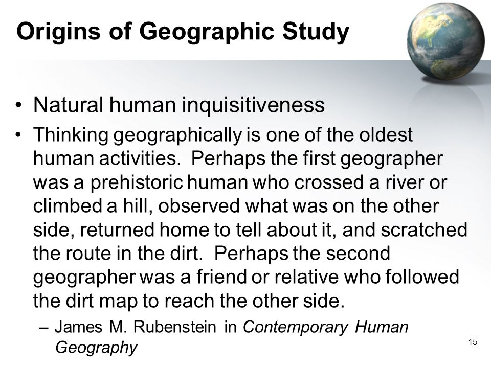 Origins of Geographic Study