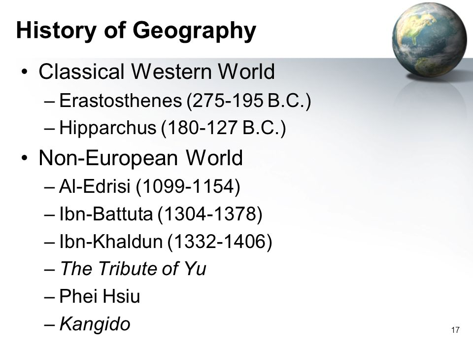 History of Geography Classical Western World Non-European World