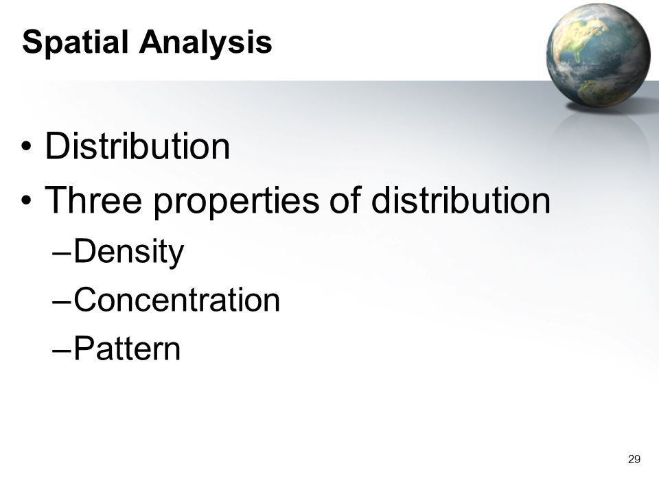 Three properties of distribution