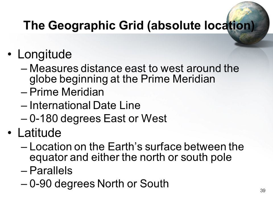 The Geographic Grid (absolute location)
