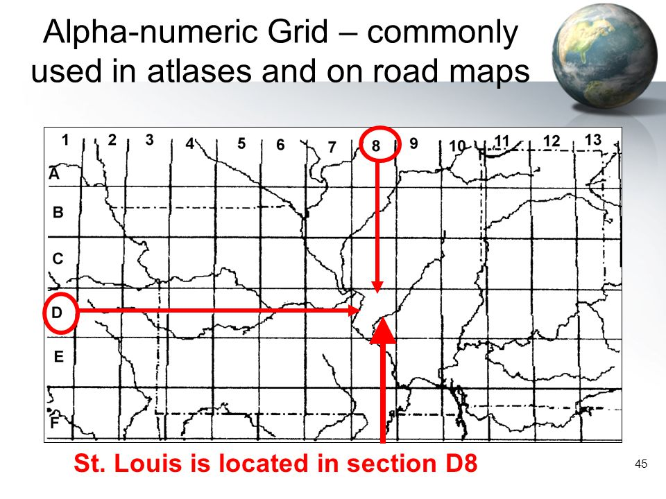 Alpha-numeric Grid – commonly used in atlases and on road maps