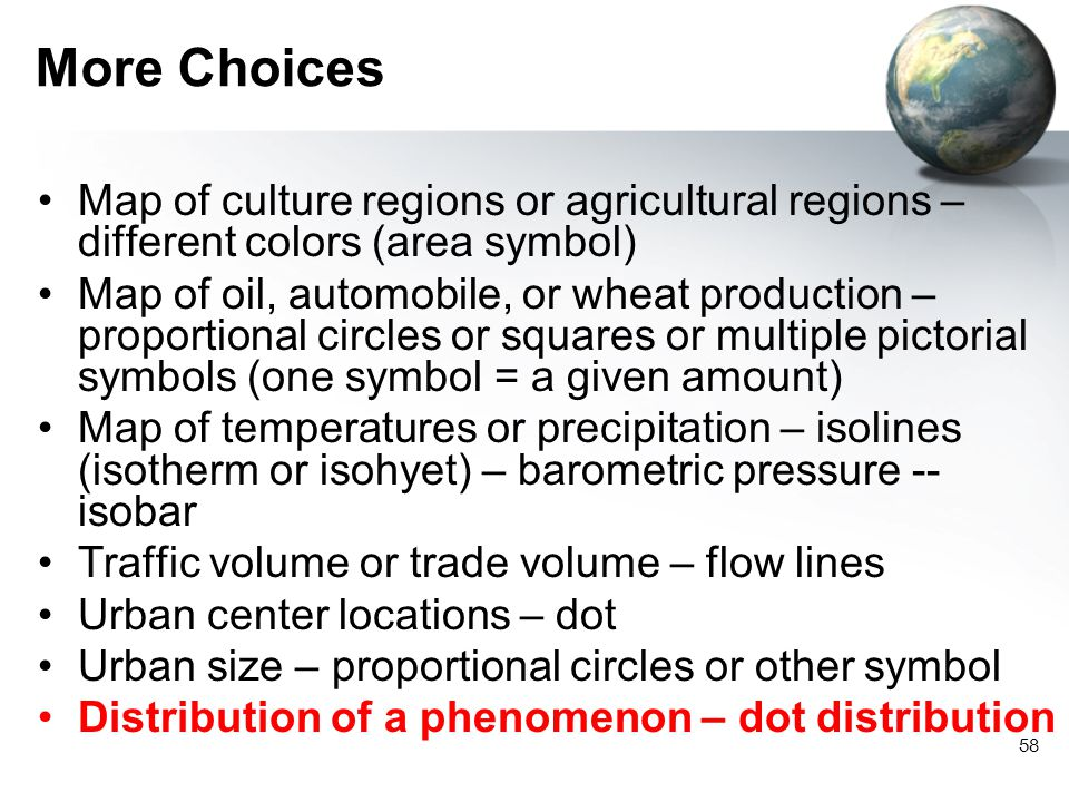 More Choices Map of culture regions or agricultural regions – different colors (area symbol)