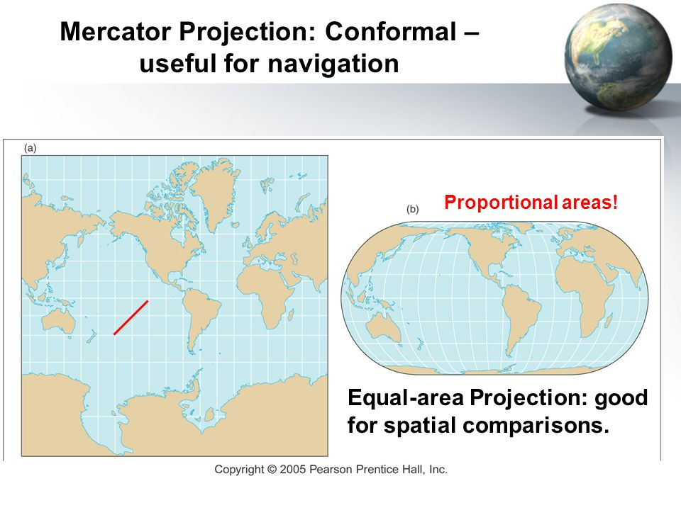 Mercator Projection: Conformal – useful for navigation