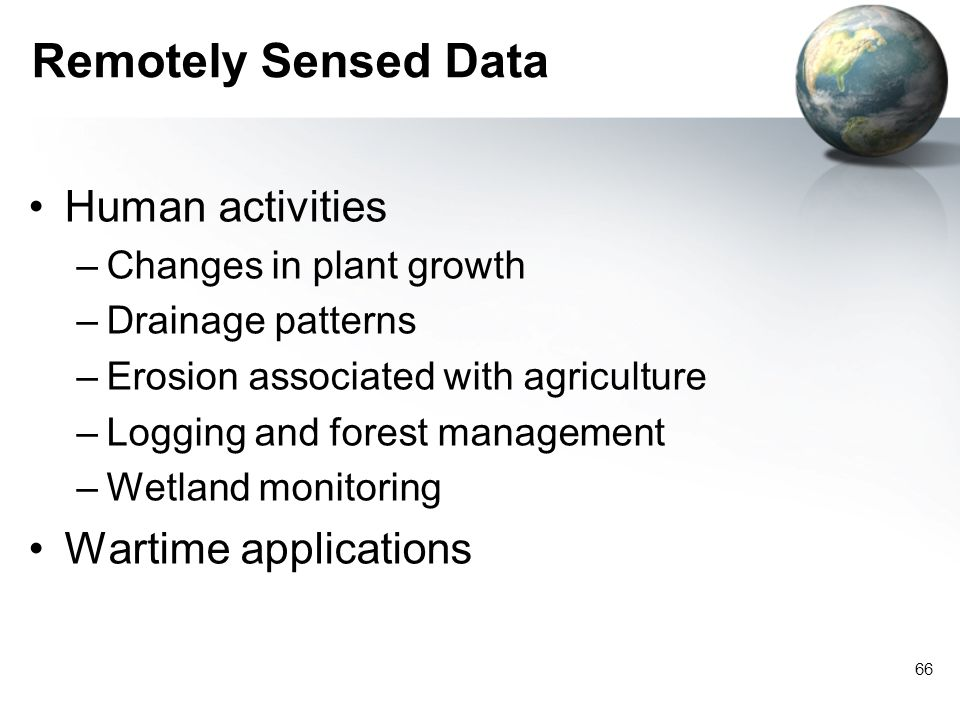 Remotely Sensed Data Human activities Wartime applications