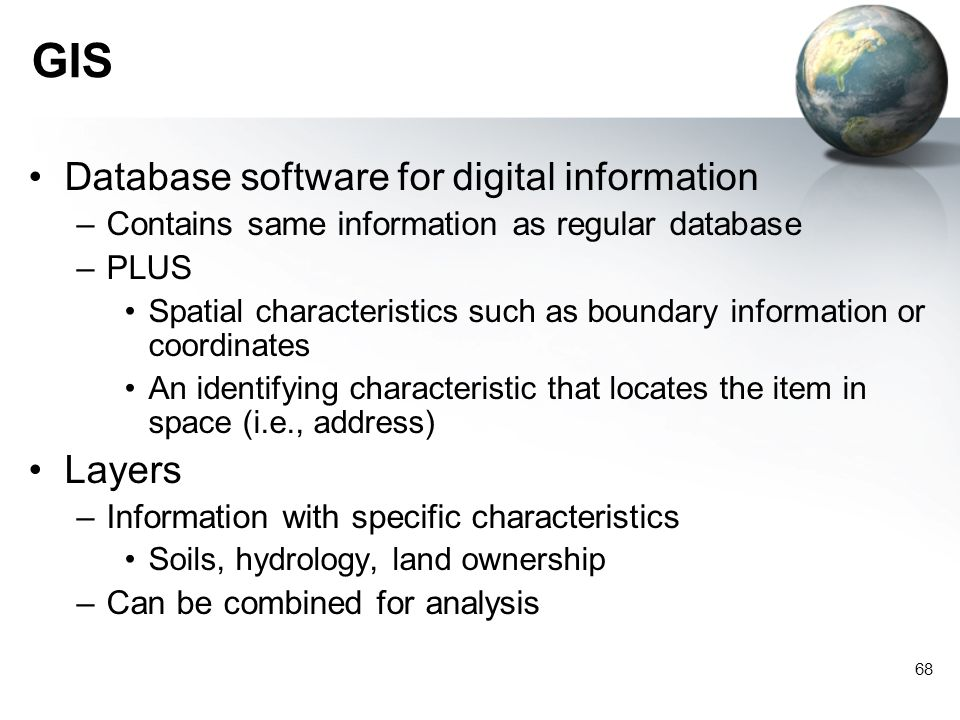 GIS Database software for digital information Layers