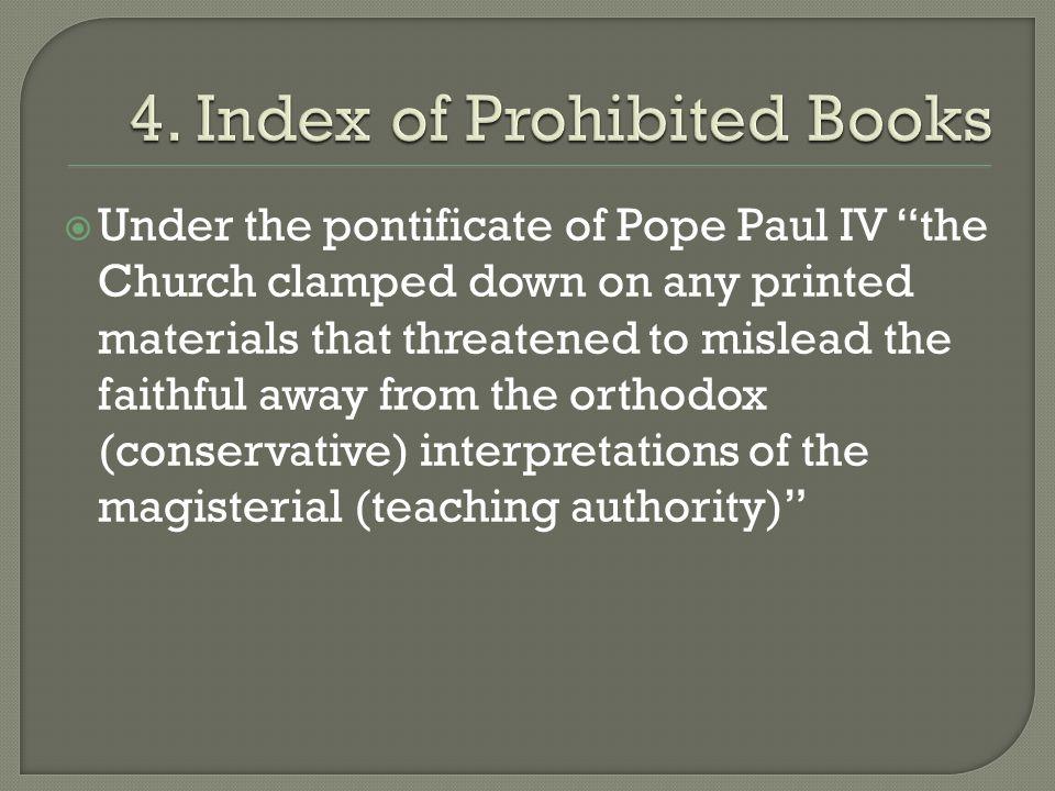 4. Index of Prohibited Books