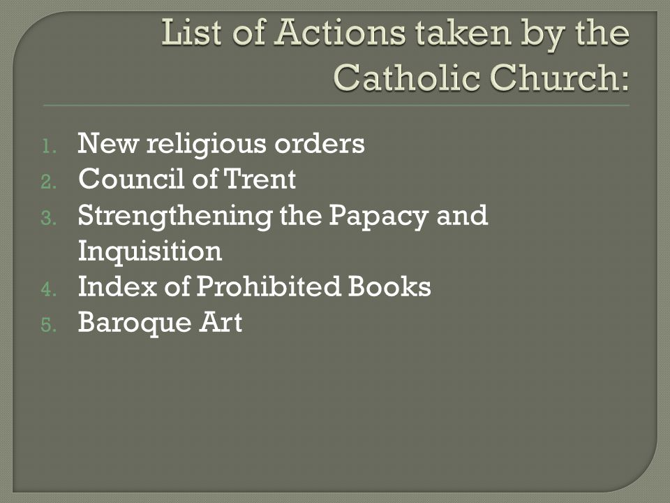 List of Actions taken by the Catholic Church: