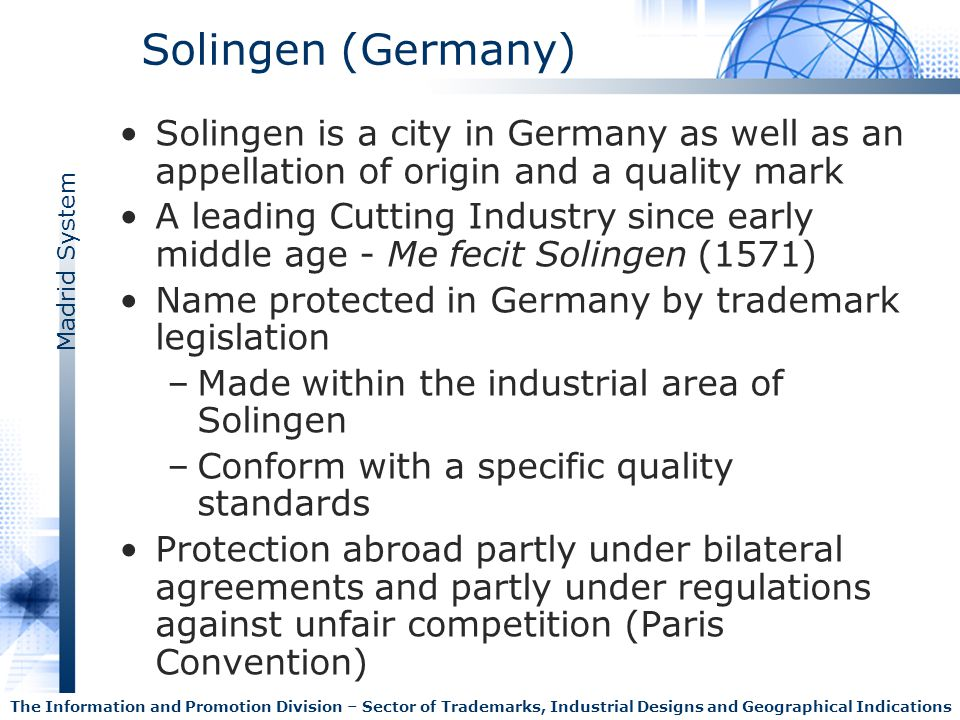 Solingen (Germany) Solingen is a city in Germany as well as an appellation of origin and a quality mark.