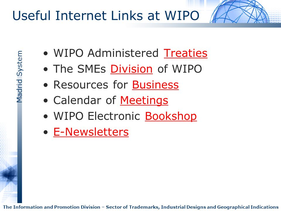 Useful Internet Links at WIPO