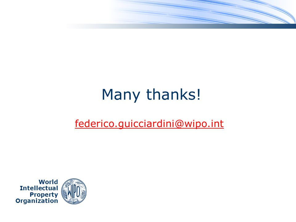 Many thanks! federico.guicciardini@wipo.int