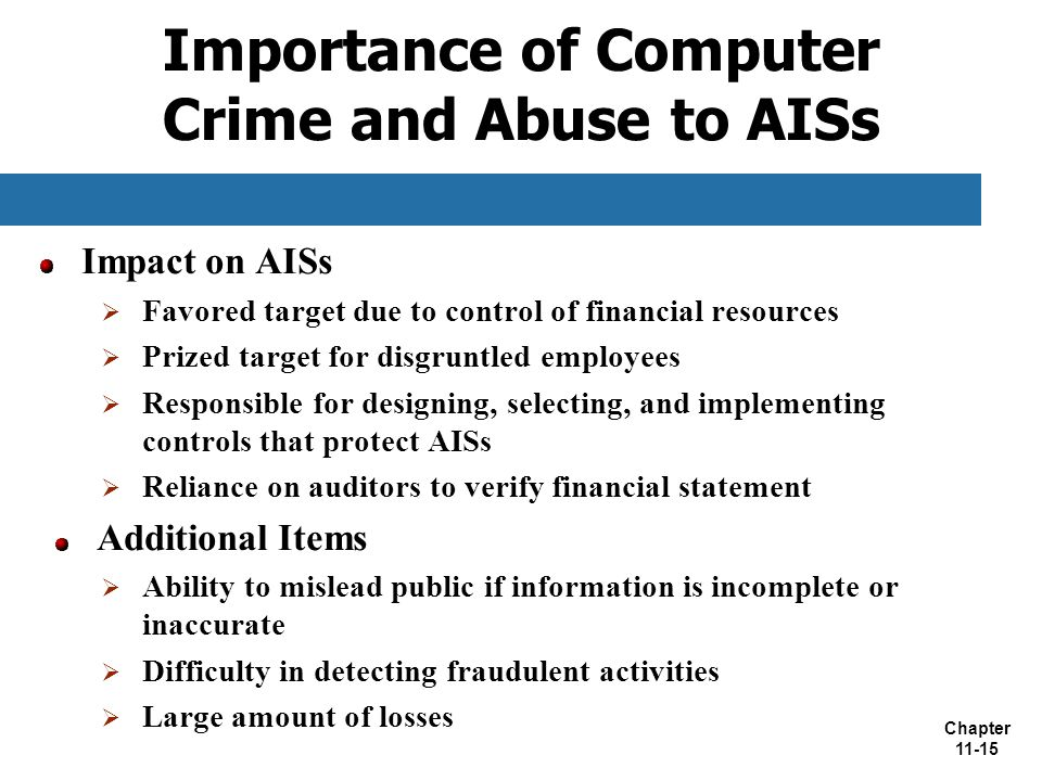 Importance of Computer Crime and Abuse to AISs