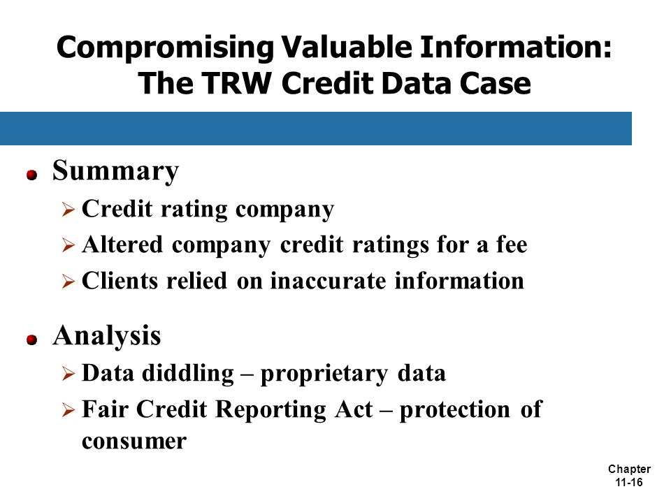 Compromising Valuable Information: The TRW Credit Data Case