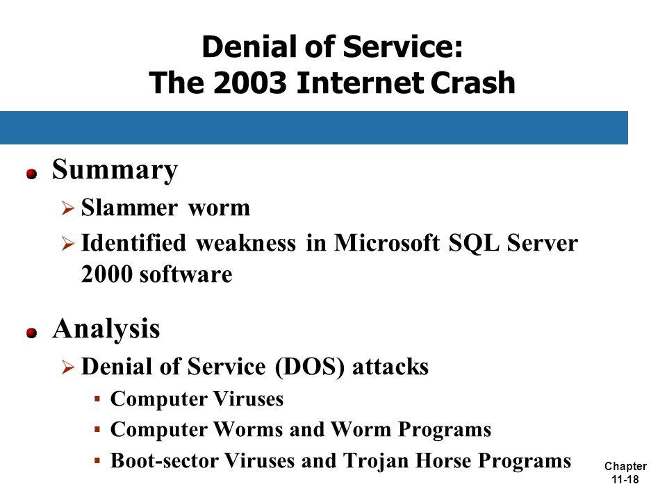 Denial of Service: The 2003 Internet Crash