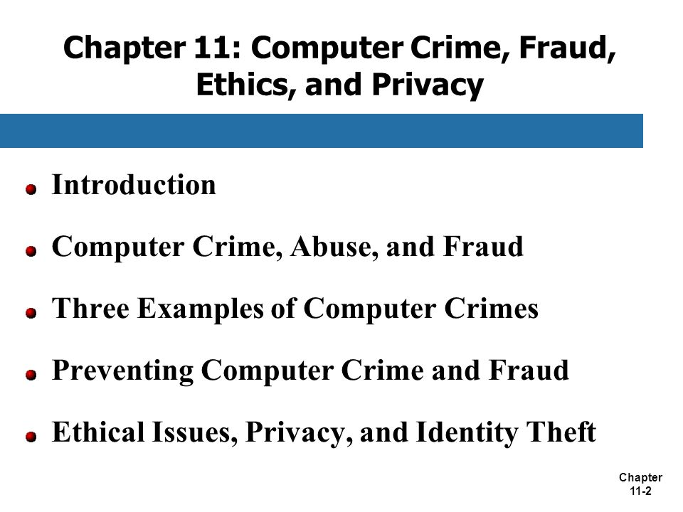 Chapter 11: Computer Crime, Fraud, Ethics, and Privacy