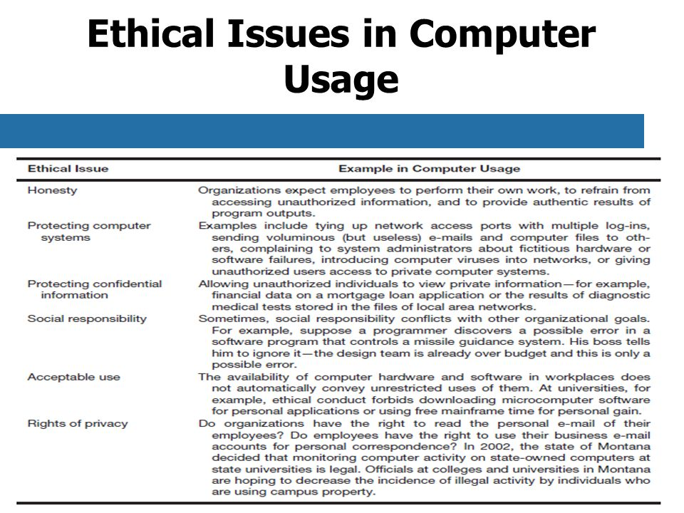 Ethical Issues in Computer Usage