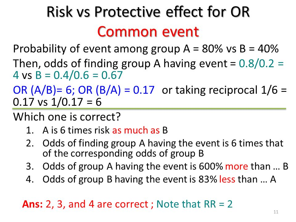 Risk vs Protective effect for OR Common event