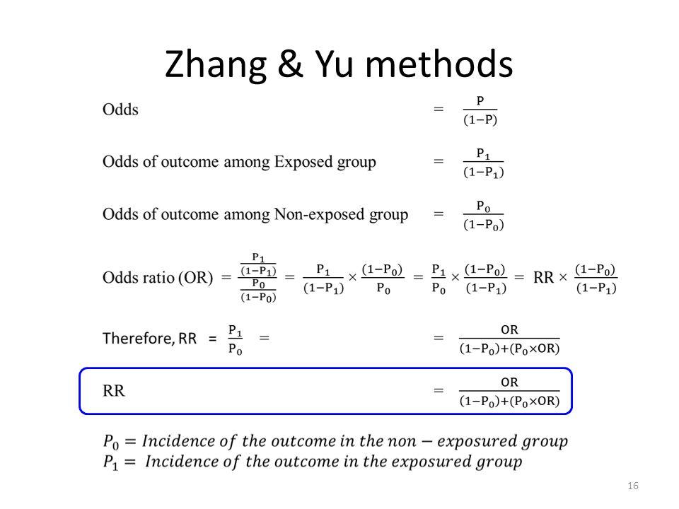 Zhang & Yu methods
