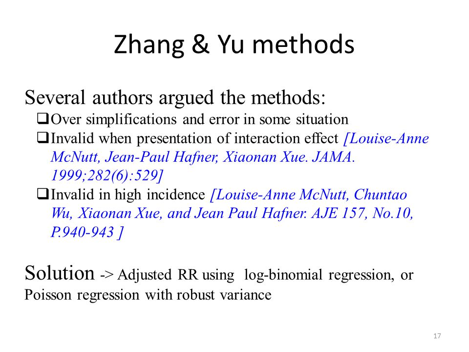 Zhang & Yu methods Several authors argued the methods: