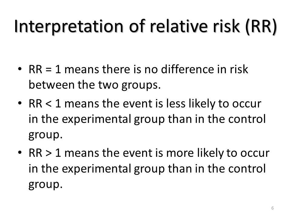 Interpretation of relative risk (RR)