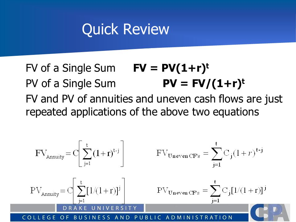 Quick Review FV of a Single Sum FV = PV(1+r)t
