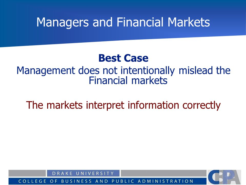 Managers and Financial Markets