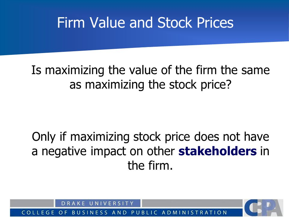Firm Value and Stock Prices