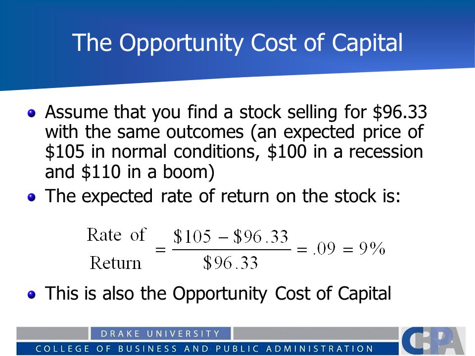 The Opportunity Cost of Capital